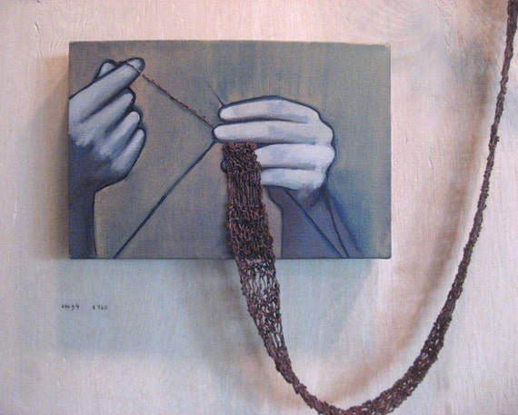 Ktog4 . Oil and Knitting on Canvas . Rania Hassan . 2008