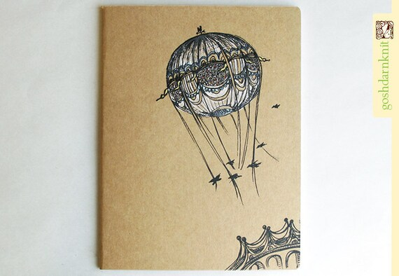 Bridges and Balloons Moleskine Cahier . XL Notebook . Plain