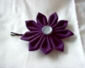 Purple flower hair pin
