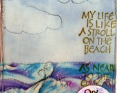 Stroll on the Beach Fabric Postcard