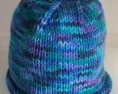 Hand Knit Warm Winter Baby roll brim Hat - Monet green blue purple