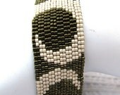Olive Green and Sand Peyote Cuff (2107)