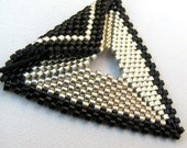 Elegant Silver and Black Peyote Triangle Choker (2296) - A Sand Fibers Made-to-Order Creation