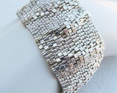 RESERVED for Linda H  Large Silver Ripples Peyote Cuff / Peyote Bracelet (2623) - A Sand Fibers Creation