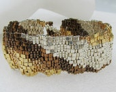 Corrugated Mixed Metals Color Ribbon Peyote Cuff (2531) - A Sand Fibers Made-to-Order Creation