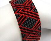 Intertwined Red and Orange Peyote Cuff Bracelet (2562) - A Sand Fibers Creation