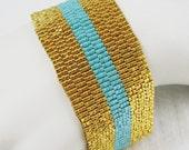 The Stripes - Gold and Sea Opal Peyote Cuff Bracelet (2565) - A Sand Fibers Creation