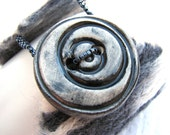 Sophisticated Felted Cuff with Ceramic Button (2314) - An Original OOAK Sand Fibers Creation