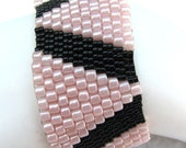 Triangles in Pink Peyote Cuff (2147) -A Sand Fibers Creation