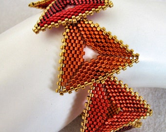 Hot 3x3x3 Anything Goes Peyote Bracelet  (2231) - A Sand Fibers Creation