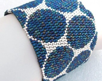 Rainbow Black and Silver Punchinella Peyote Cuff Bracelet (2448)