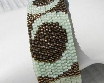 Bronze and Sea Green Peyote Cuff (2106)