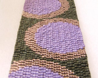 Fashionable Circles in Eggplant and Bronze on Olive Peyote Cuff Bracelet (2505) - A Sand Fibers Creation