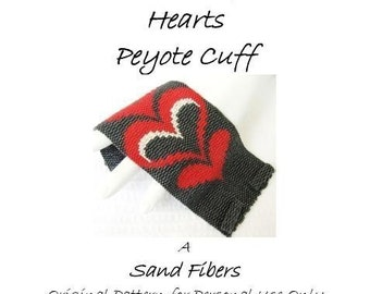Peyote Pattern - Modern Bargello Hearts Peyote Cuff / Peyote Bracelet - A Sand Fibers For Personal Use Only PDF Pattern