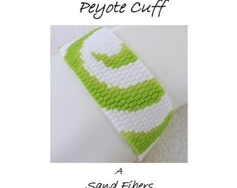 Peyote Pattern - Partial Lime Swirls Peyote Cuff / Peyote Bracelet - A Sand Fibers For Personal Use Only PDF Pattern - 3 for 2