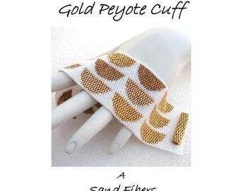 Peyote Pattern - Stacks in 24-Karat Gold Cuff / Bracelet  - A Sand Fibers For Personal Use Only PDF Pattern - 3 for 2 Savings Program