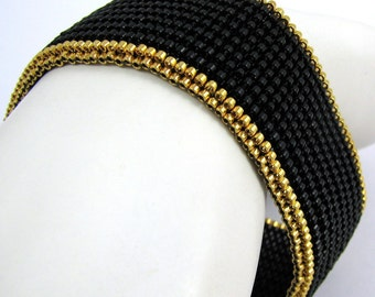 Gold-Rimmed Serendipity in Black Peyote Cuff / Peyote Bangle(2553) - A Sand Fibers Creation