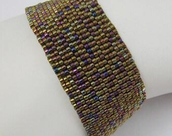 Metallic Raspberry Peyote Cuff (2037)