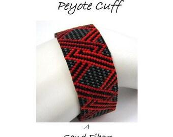 Peyote Pattern - Intertwined Peyote Cuff / Peyote Bracelet - A Sand Fibers For Personal Use Only PDF Pattern