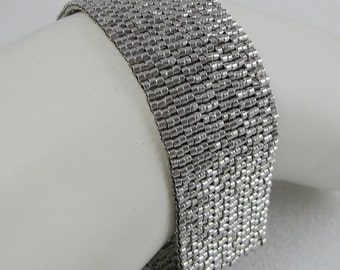 Palladium-plated Peyote Cuff / Bracelet  (2615) - A Sand Fibers Made-to-Order Creation