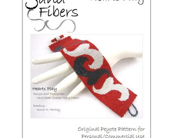 Peyote Pattern - Hearts Play Peyote Cuff / Bracelet   - A Sand Fibers For Personal/Commercial Use PDF Pattern - 3-for-2 Pattern  Program