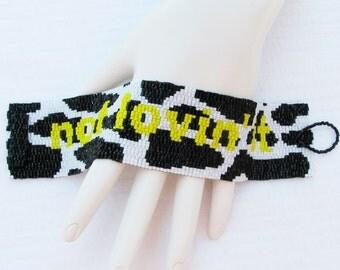 Cuff for a Vegan -- not lovin' it --  Peyote Cuff Bracelet   (2227) - A Sand Fibers Creation