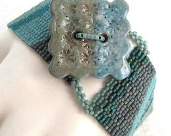 Early Morning Tidal Pool Peyote Cuff Bracelet (2271) - An Original Sand Fibers Creation