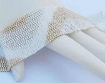 Sugar and Cream Color Ribbon Peyote Cuff Bracelet (2292)