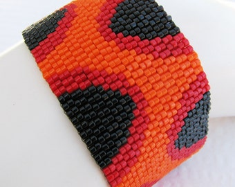 Truncated Eyelet - The Fire Within - Peyote Cuff Bracelet (2356) - A Sand Fibers Made-to-Order Creation