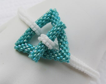 White and Turquoise Simplicity - A Beadwoven Bracelet (2392)