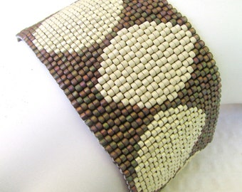 Romantic Circular Games Peyote Cuff Bracelet (2418) - A Sand Fibers Creation