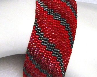 Red Bargello Ribbon Peyote Cuff (2190)