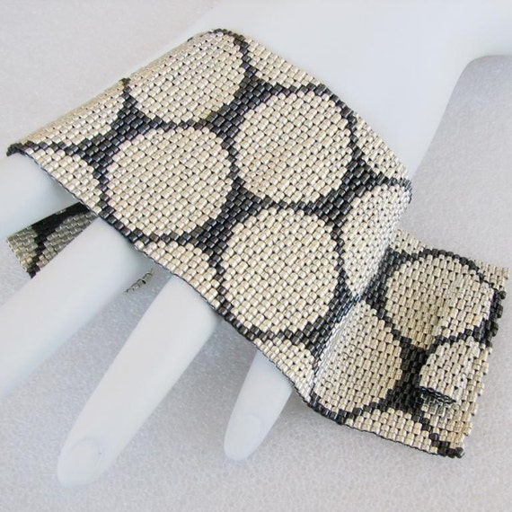 Punchinella or Where Have All the Sequins Gone Peyote Cuff Bracelet (2444)