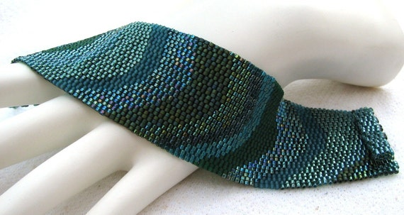 Color Study in Teals Peyote Cuff Bracelet (2306)