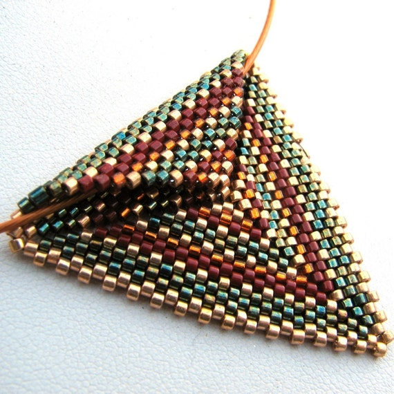 Autumnal Triangle Peyote Pendant on Copper Cable Choker (2426) - A Sand Fibers Made-to-Order Creation