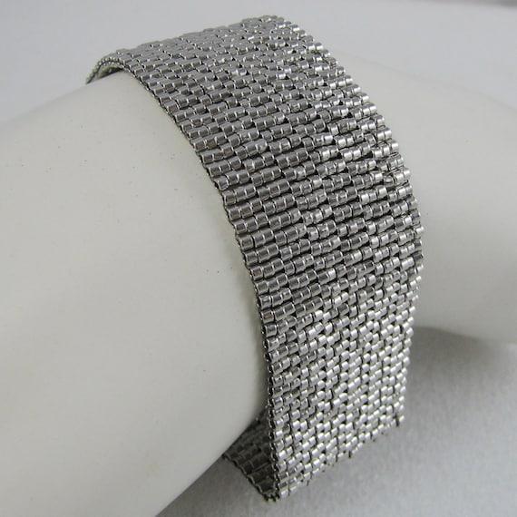 Palladium-plated Peyote Cuff / Bracelet  (2615) - A Sand Fibers Made-to-Order Creation
