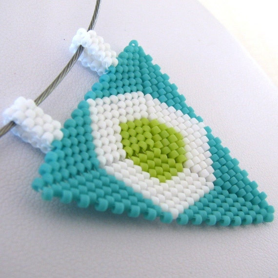 Bright Peyote Triangle Pendant and Choker (2258) - A Sand Fibers Made-to-Order Creation