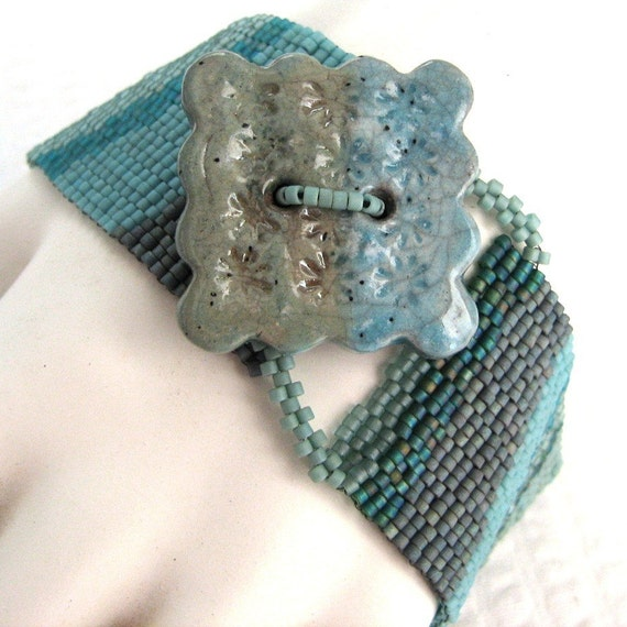 Early Morning Tidal Pool Peyote Cuff Bracelet (2271) - An Original Sand Fibers Creation