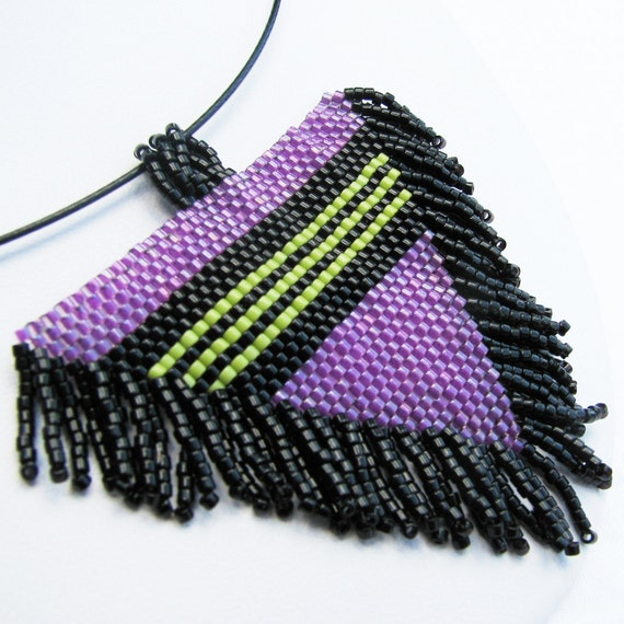 Striped and Fringed Beadwoven Magenta Triangle Pendant (2413) - A Sand Fibers Creation