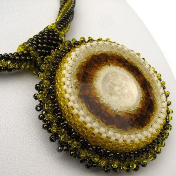 Lemon and Chocolate Confection Beadwoven Necklace (2421) - An Original Sand Fibers Creation