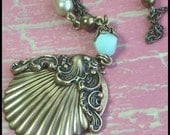 RESERVED LISTING- Luminescence of the Sea Brass Necklace