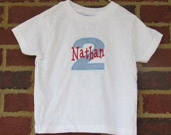 Custom Boutique Number Applique Shirt with Personalization