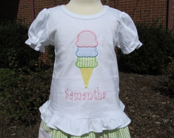 Custom Boutique Ice Cream Applique Shirt