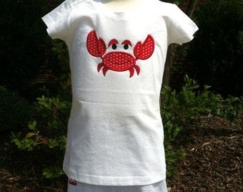 Custom boutique crab applique shorts set