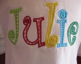 Custom Boutique Applique Name T-Shirt