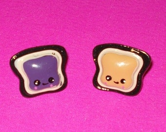 LAST ONE! Peanut Butter Jelly Time Toast Sandwich Super Kawaii Cute Food Pierced Post Earrings