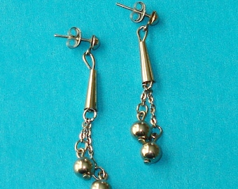 Vintage 1980s Silver Geometric Cone and Ball Dangle Earrings