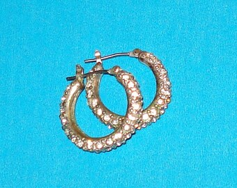 Vintage 1980s Shimmering Rhinestone Hoop Earrings