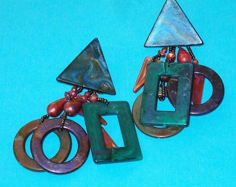 Vintage 1980s Geometric Dream Beaded Dangle Earrings