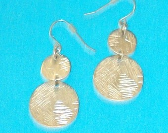 Vintage 1980s Silver Disc Drop Earrings